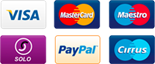 Accepted payment methods: Visa, Mastercard, Maestro, Solo, PayPal, Cirrus